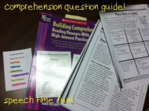 Comprehension Question Guide: Idea for Speech Therapy!