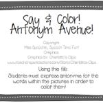 Say & Color: Antonym Avenue!  ((FREEBIE))
