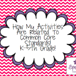 How My Activities Are Related To Common Core Standards! K-5th Grade