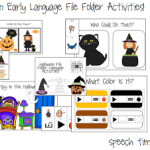 Halloween Early Language File Folder Activities!