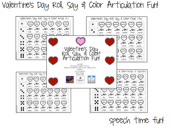 Valentine's Day Roll, Say & Color Articulation Fun!