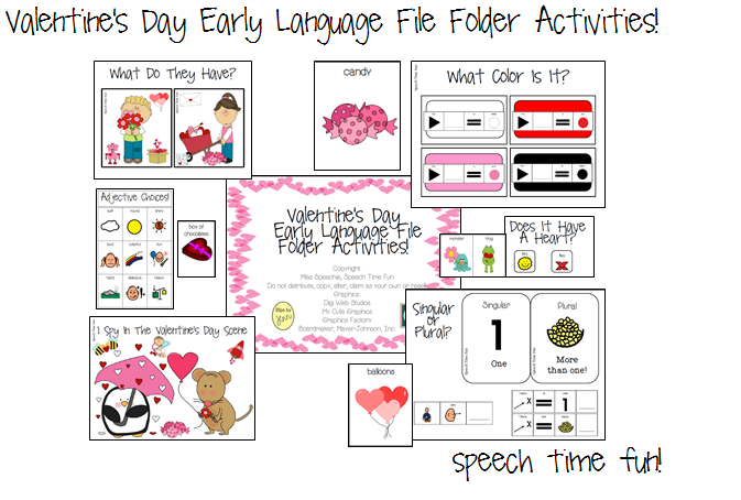 Valentine's Day Early Language File Folder Activities!!