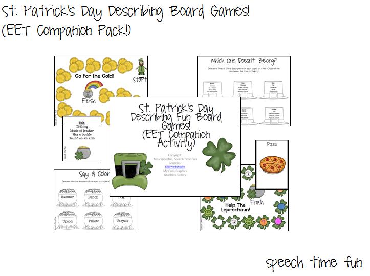 St. Patrick's Day Describing Board Games (EET COMPANION PACK!)