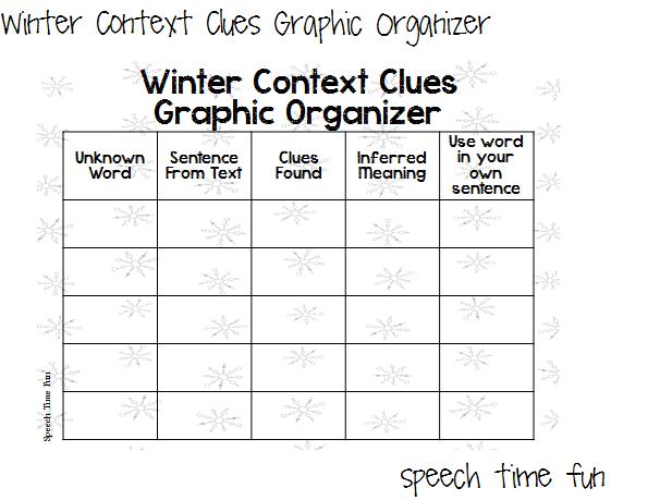 Winter Context Clues Graphic Organizer FREEBIE!