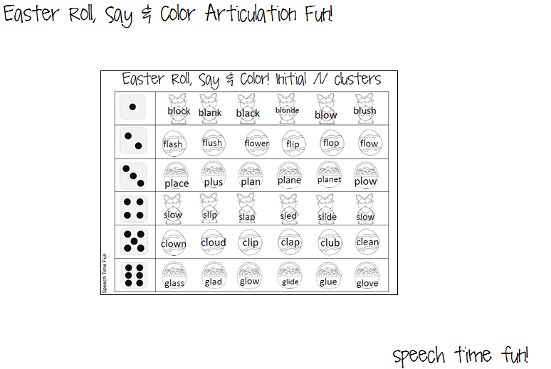 Easter Roll Say Color Articulation Fun – R Articulation Worksheets