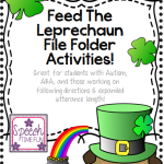 Feed The Leprechaun File Folder Activity: Great for ABA, following directions, expanding utterance length and more!