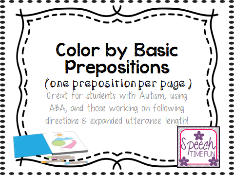 Color By Prepositions 1 Per Page Great For Students With Autism