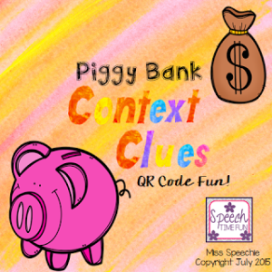 Piggy Bank Context Clues QR Code Fun!!