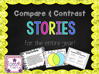 Do your speech students struggle with carryover of compare and contrast? Mine too! That's why I created this Compare and Contrast Stories for the Entire Year resource! Click through to read more about all of the awesome resources included and to learn how you can use it in your speech and language therapy!