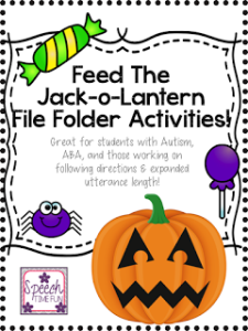 My Feed the Jack-o-Lantern resource is the perfect addition to your Halloween-themed speech and language therapy materials! Click through to learn what all I included in this resource and how to use it with your speech students!