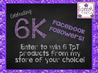 I decided to celebrate reaching 6,000 Facebook followers with a big giveaway! There were six winners, and they each got a TpT product from my store!