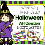 Which Way To The Witch?  WH Question Halloween Board Games!