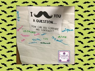 "Exit slips are a great way to check for understanding after a speech lesson. This post describes my ""I Mustache You a Question"" exit slips-so cute and fun! Click through to get all of the juicy info!"