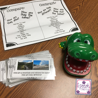 When we work on compare and contrast in speech therapy, it's often with very basic activities and comparisons. However, in regular classrooms, students are expected to do more rigorous comparing and contrasting. Therefore, I'm sharing some of my favorite ways to work on compare and contrast in this post!
