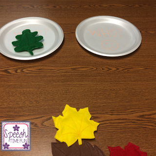 DIY therapy ideas are often a saving grace for me, so you have to check out this engaging fall leaves DIY activity! I used it for a WH question activity, so click through to read how I created this game and how my students responded!