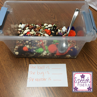 Sensory bins are awesome tools to use in speech therapy because you can target several different speech and language skills with them, such as following directions. I made a Halloween sensory bin, so click through to read what supplies I got and where!