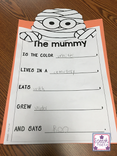 Are you looking to jazz up your Halloween speech plans with your speech and language students? I've created an engaging and fun resource to go along with the book There Was an Old Mummy Who Swallowed a Spider. Click through to read more about what's included!