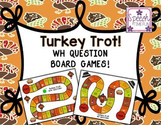 Celebrate Thanksgiving in your speech therapy room with the help of this Turkey Trot WH Question Board Games resource! Click through to read more about what's included in this engaging Thanksgiving activity!