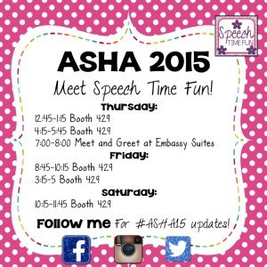 Miss Speechie attended ASHA Denver 2015! Learn more about how she participated in the conference, including what events and booths she attended, and learn more about the awesome giveaways that happened!