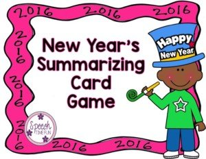New Year's Summarizing Card Game FREEBIE!!!