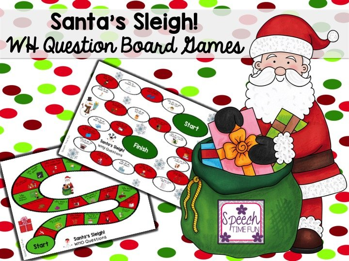 Santa's Sleigh!  Christmas WH Questions Board Games!