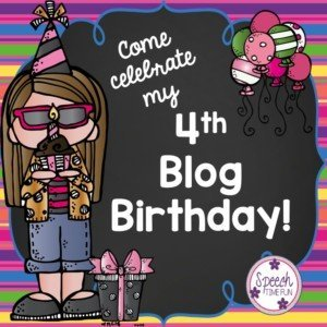 Speech Time Fun has been going strong for four years now! Help me celebrate my blog's 4th birthday by reading what I've learned and what I'm thankful for inside this post (hint: it's you). Also check out what's coming in the future of Speech Time Fun!
