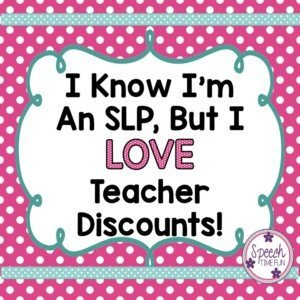 One benefit of being an SLP is getting teacher discounts at a variety of retail stores! Although you may forever be arguing that you are NOT an SLP, you can still take advantage of the special discounts for teachers. Click through to find out some stores with awesome teacher discounts!