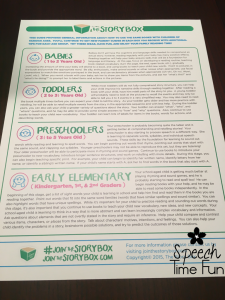 Monthly subscription boxes have become all the rage, and SLPs and parents aren't left out anymore thanks to The Story Box! This SLP-created subscription box sends a couple of books with ideas for use, which is perfect for parents. Because it's created and curated by an SLP, it targets all the essential speech skills! Click here to read my full review.