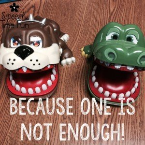 What's my favorite toy as a SLP? You'll be delighted to know that my students named it their favorite toy, too! We call it the Crocodile Dentist, and it's a cheap and fun toy that can be ordered off of Amazon and used with a variety of activities. Click here to learn more!