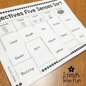 Adjectives Five Senses Sort Freebie - Speech Time Fun