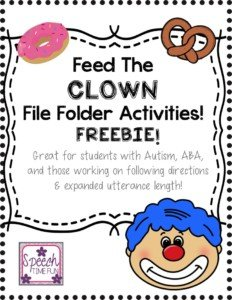 Feed the Clown File Folder Activities