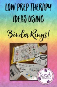 Low Prep Therapy Ideas Using Binder Rings