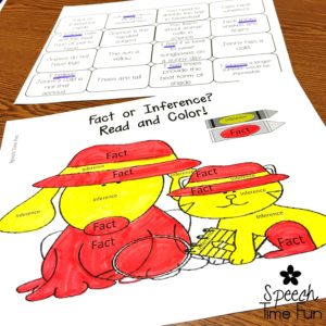 Working on inferencing in speech therapy is different than how reading teachers teach students to make inferences. This post describes how to teach inferences in speech and language therapy to help your students be successful. Plus, I share fun activities to make practicing inferences more fun! Click through to read the full post.