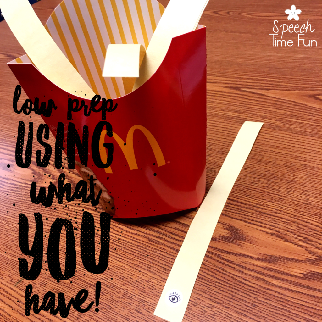 Here's a creative idea: Use fries containers in speech therapy! We all know your students will get a big kick out of having a french fry container as part of their speech lesson, but those containers can provides some low prep and fun ways to switch things up! Click through to get more ideas for using fries containers from this DIY SLP!