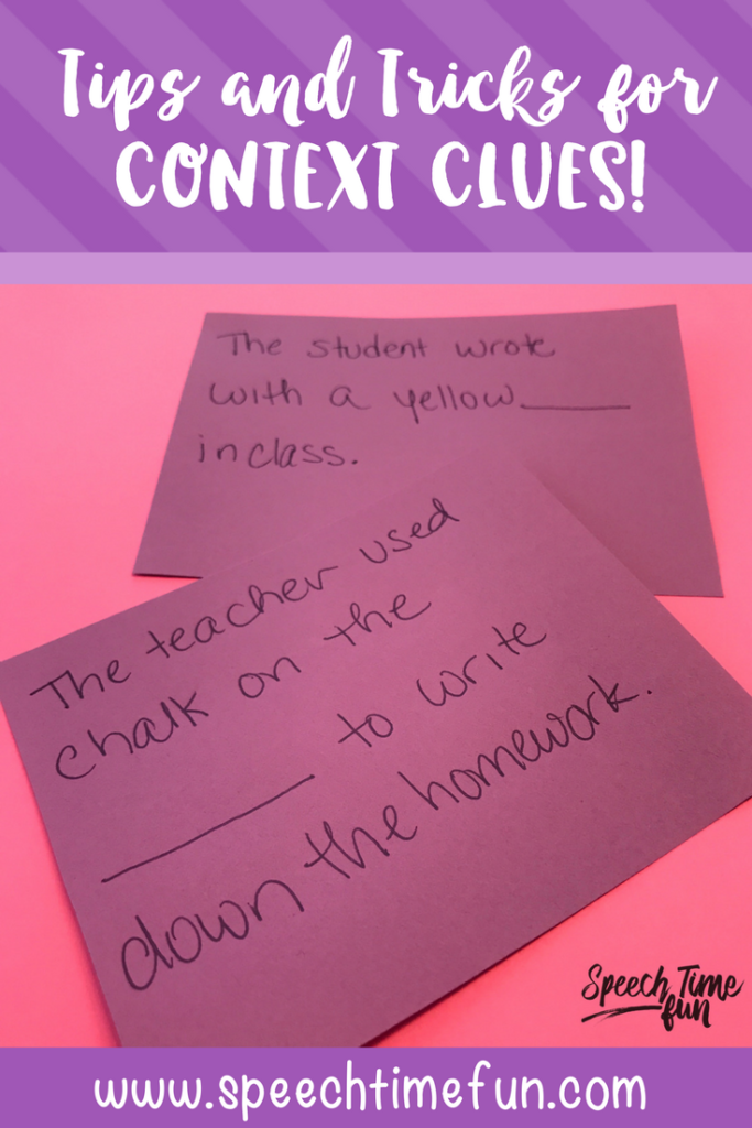 Need some fresh ideas for teaching context clues in speech and language therapy? In this blog post, I talk about the Common Core expectations for students' use of context clues, and then I talk about how we can tackle this skill in speech therapy with our elementary students. Click through to get all of my suggestions in the post!