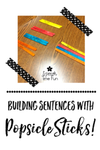 Building sentences with popsicle sticks is a fun, low-prep activity for speech therapy! You can have your students practice building tons of different sentences to practice their speech and language skills. This blog post shares a quick tutorial about using popsicle sticks to build sentences, so click through to read!
