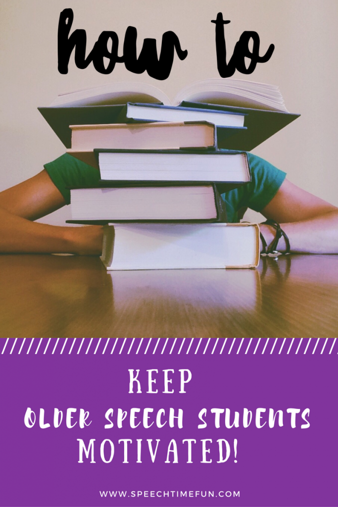 Older speech students have been through it for a long time and sometimes lost motivation. Learn how I keep them engaged and motivated in this blog post!
