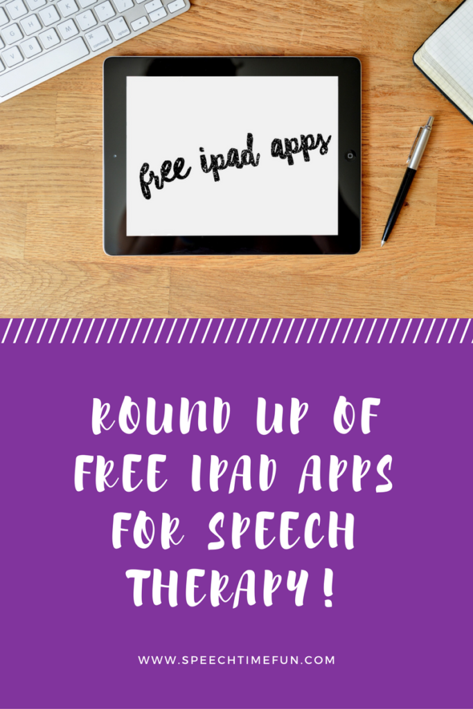 Need more apps for your speech therapy? This post shares a round-up of my favorite free iPad apps. Click through to learn about them and watch videos!