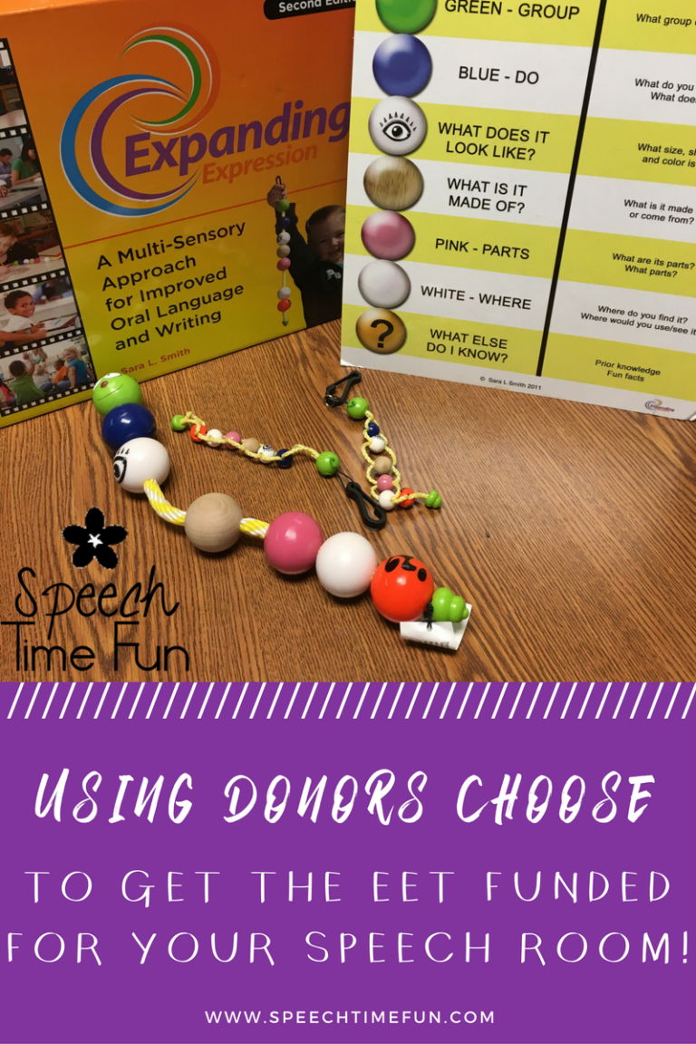 Donors Choose is a great tool for speech therapists to use to get resources for their therapy rooms, including the EET! Check out this guide to using it.