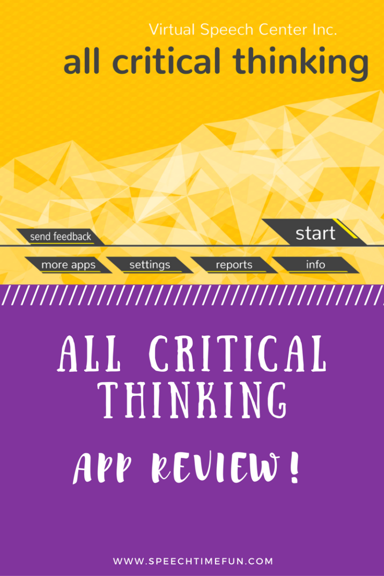 Every student has room for improvement when it comes to critical thinking, and the All Critical Thinking app helps us target this skill in speech therapy! Click through to read my review of this speech and language app.