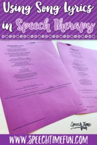Using Song Lyrics in Speech Therapy to Target a Variety of Goals