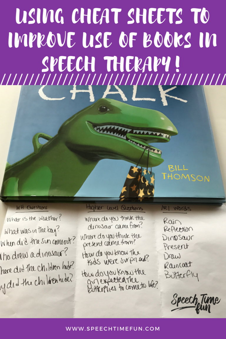 Using books in speech therapy is important, but sometimes it can be a hassle. I share how I use cheat sheets to make working with books easier in speech!