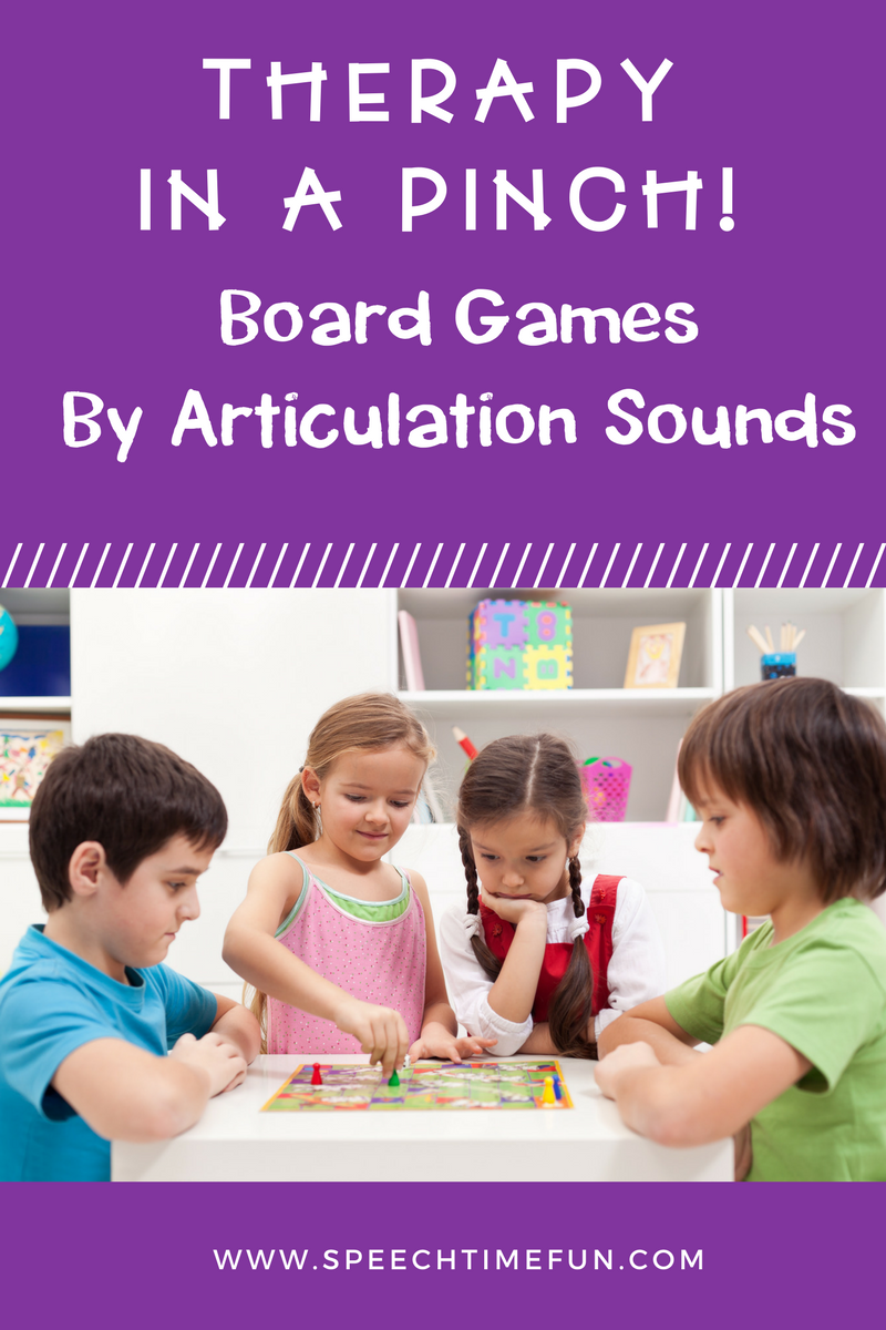 "This is a title graphic for the blog post. It says, ""Therapy in a Pinch! Board Games by Articulation Sounds."""