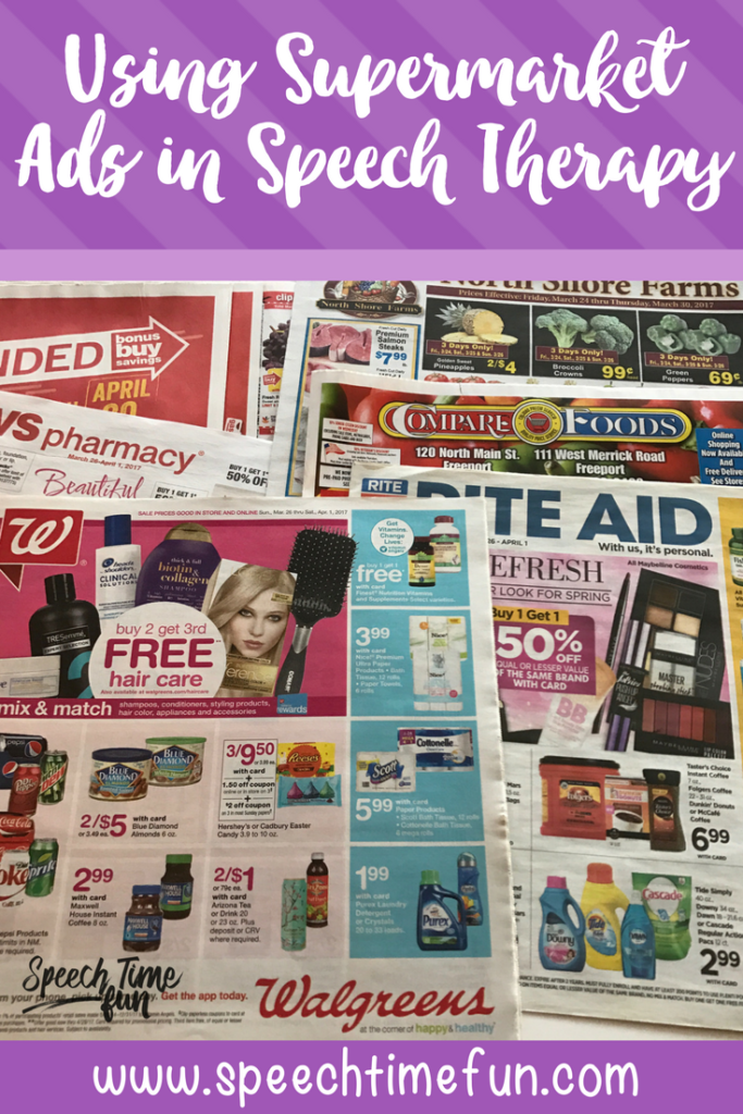 You know I love to do DIY speech therapy, so check out this blog post about using supermarket ads in your speech lessons! I share the variety of speech and language goals they can target and provide some activity ideas for you!