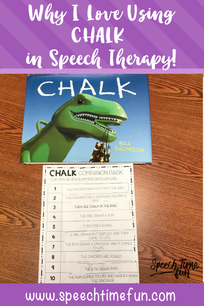 The book Chalk by Bill Thomson is a great fit for speech therapy! This blog post explains why I love using it target speech and language skills and gives lots of ideas for you to use it in your speech room!