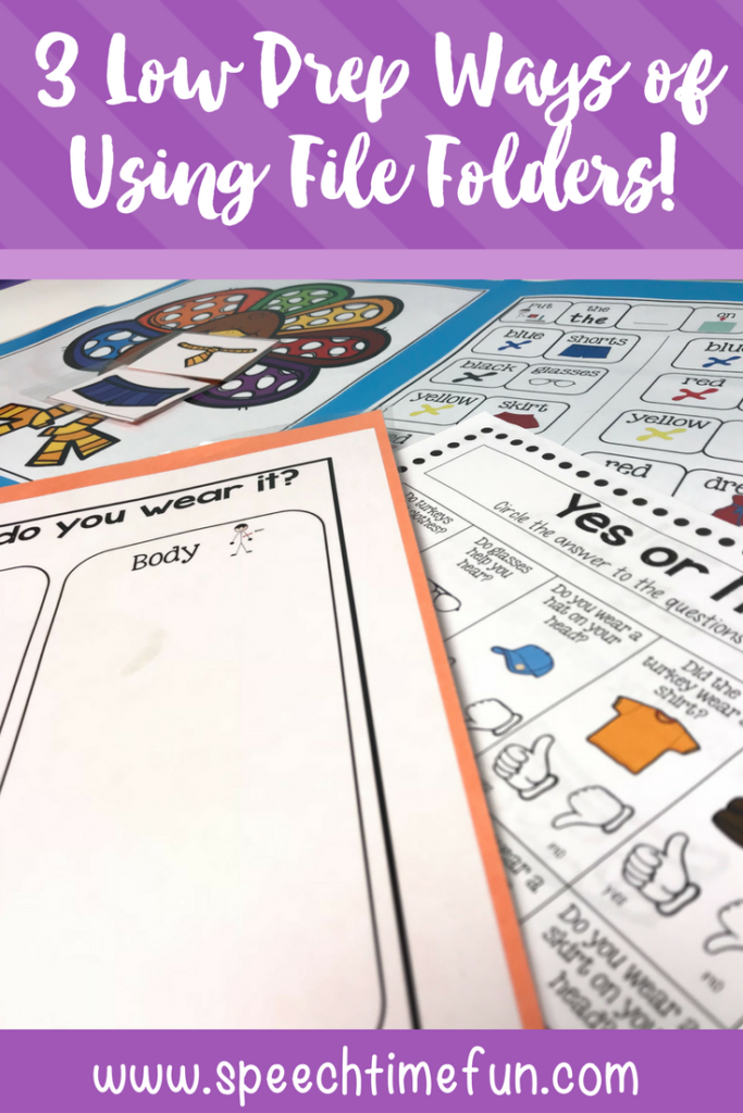 3 Low Prep Ways to Use File Folders in Speech Therapy