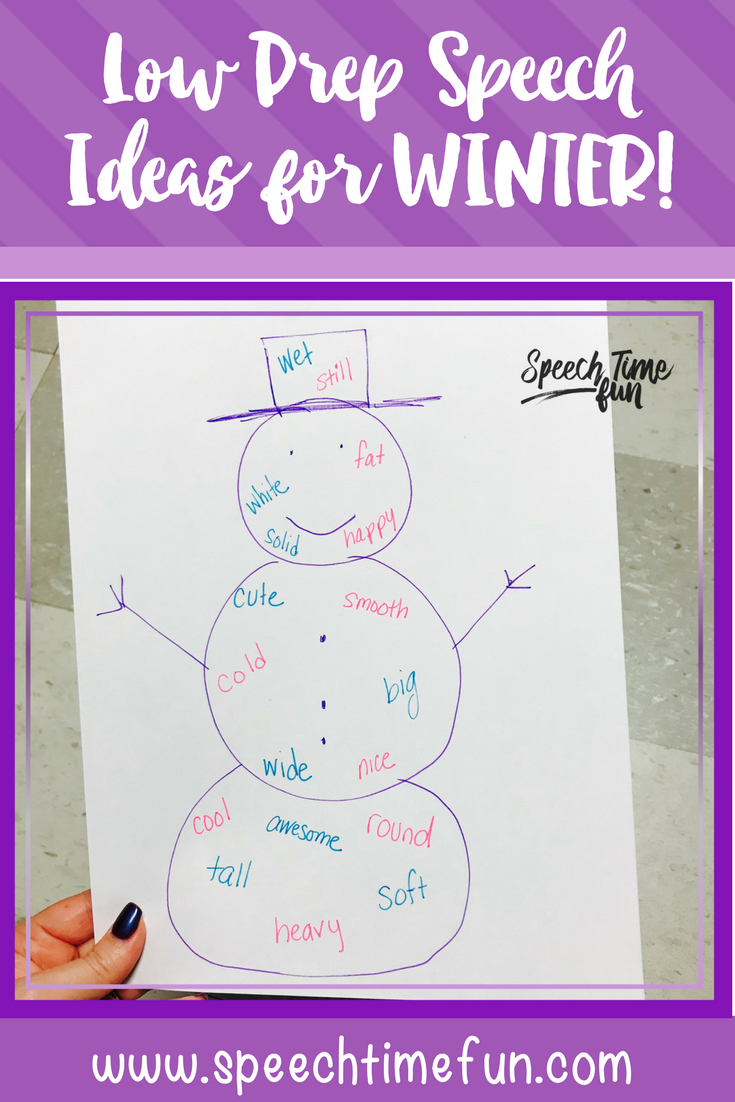 Low Prep Speech Therapy Ideas for Winter