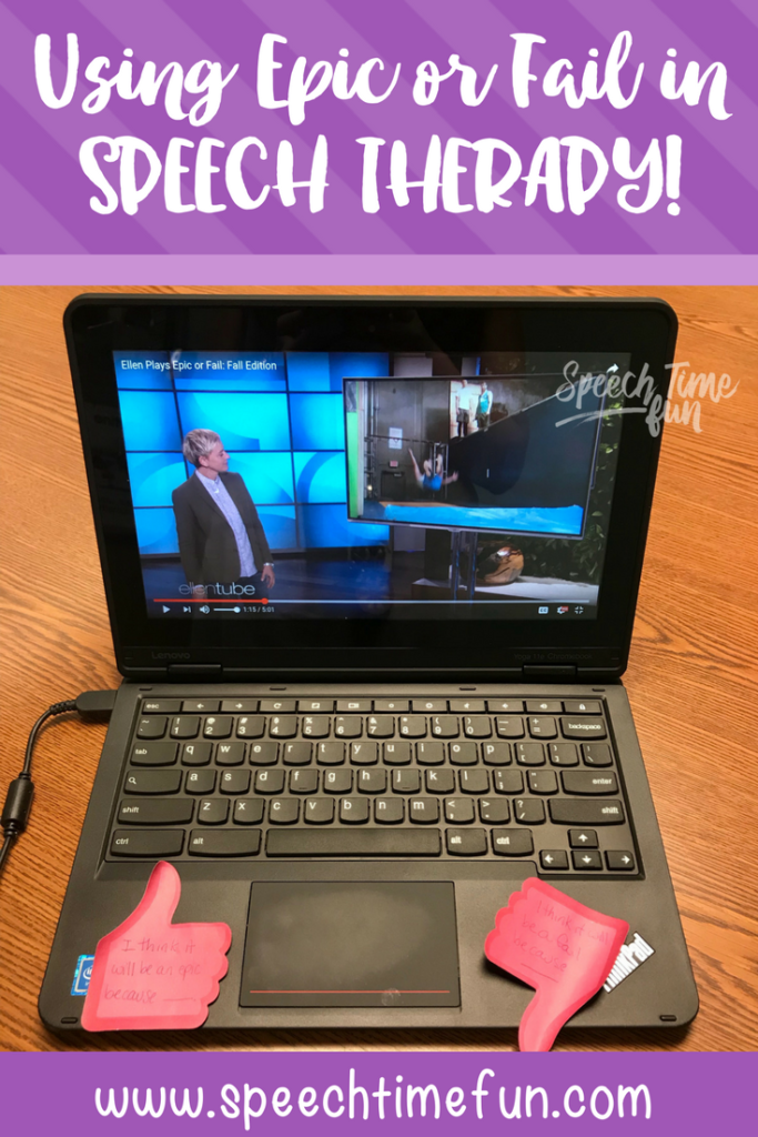Have you seen Epic or Fail on The Ellen Show? I'm sharing ideas for how you can adapt this game and use it in your speech therapy lessons! Check it out!