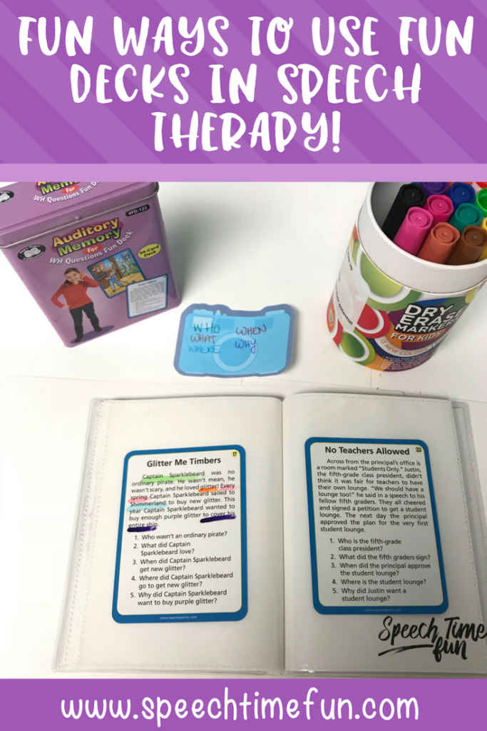 Do you have Fun Decks from Super Duper? I've been using them in speech therapy, and I've been exploring more ways to use them for speech and language practice. This blog post details ways to use Fun Decks in speech lessons, including for targeting sequencing, finding evidence, and more. Read the whole post here!