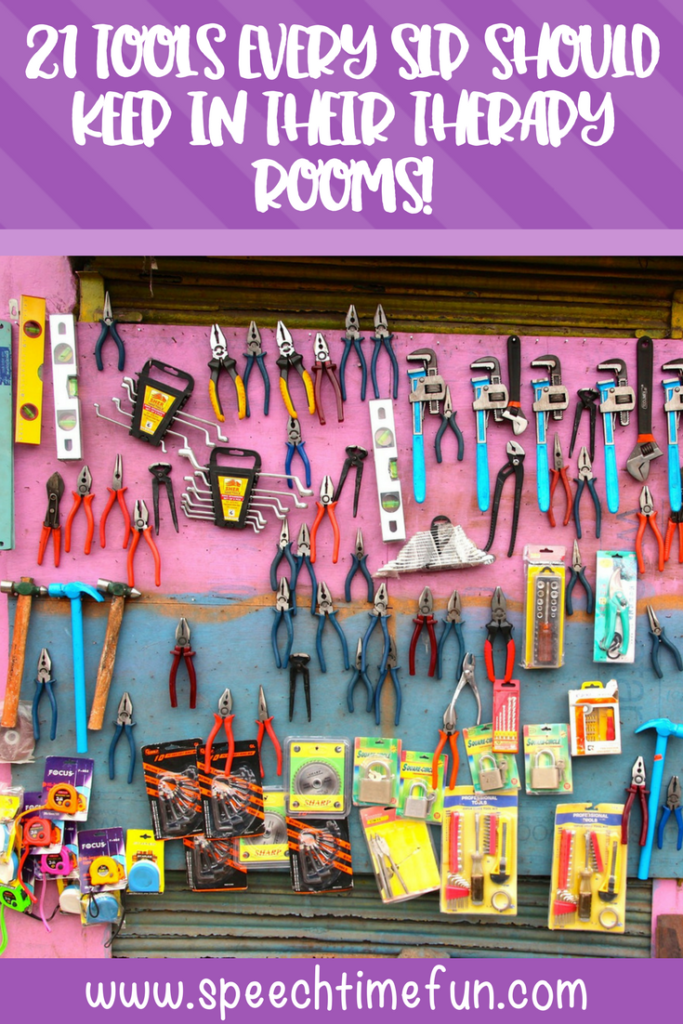 As speech language pathologists, we have a wide variety of tools and materials we use to help us facilitate effective speech therapy. But, sometimes those tools aren't the most effective. This blog post shares 21 tools that every school-based SLP should keep in their speech rooms. Click through to find out all of them!